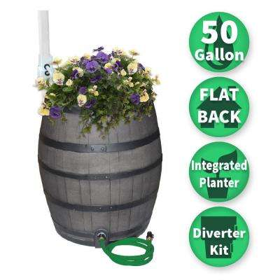 50 Gal. Gray Flat Back Whiskey Rain Barrel with Integrated Planter and Diverter System with Black Accent Bands