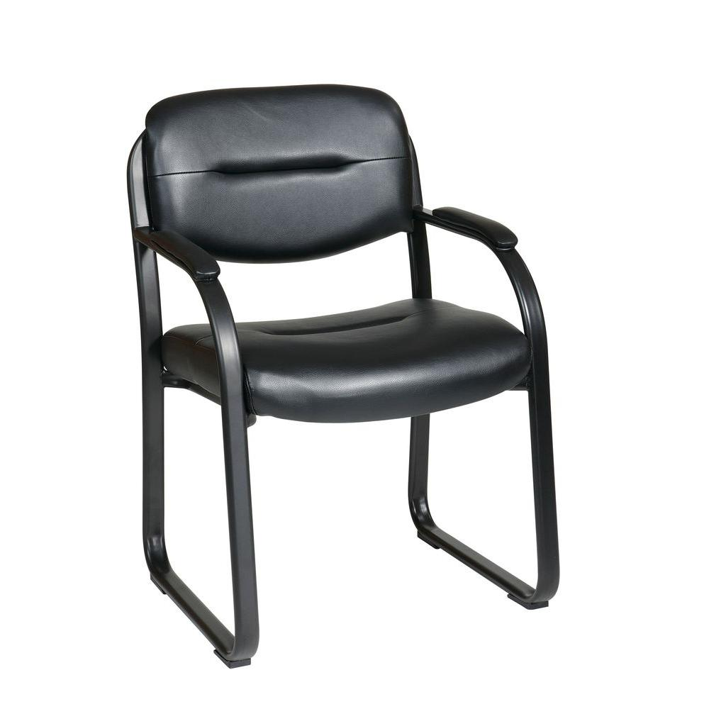 Work Smart Black Faux Leather Visitor Office Chair  sc 1 st  Home Depot & Work Smart Black Faux Leather Visitor Office Chair-FL1055-U6 - The ...