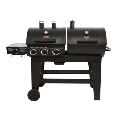 Double Play 1,260 sq, in. 3-Burner Gas and Charcoal Grill in Red