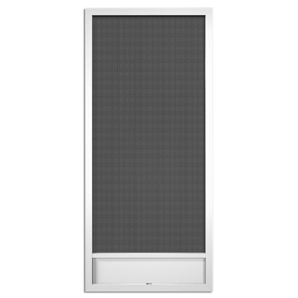 36 in. x 80 in. Still Waters White Aluminum Screen Door