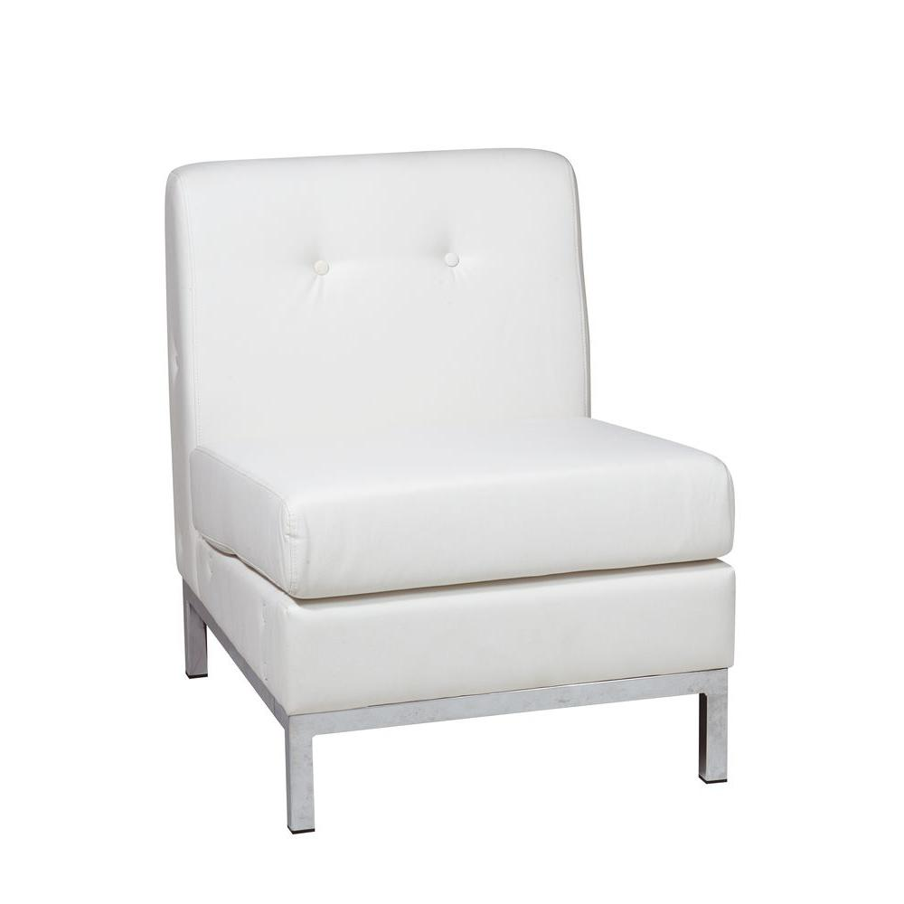 Good Ave Six Wall Street White Faux Leather Accent Chair