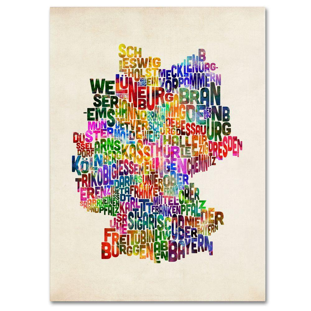 14 in. x 19 in. Germany Region Text Map 2 Canvas