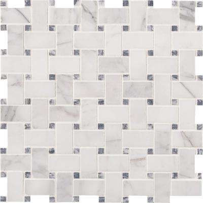 Calacatta Cressa Basketweave 12 in. x 12 in. x 10mm Honed Marble Mesh-Mounted Mosaic Tile (10 sq. ft. / case)