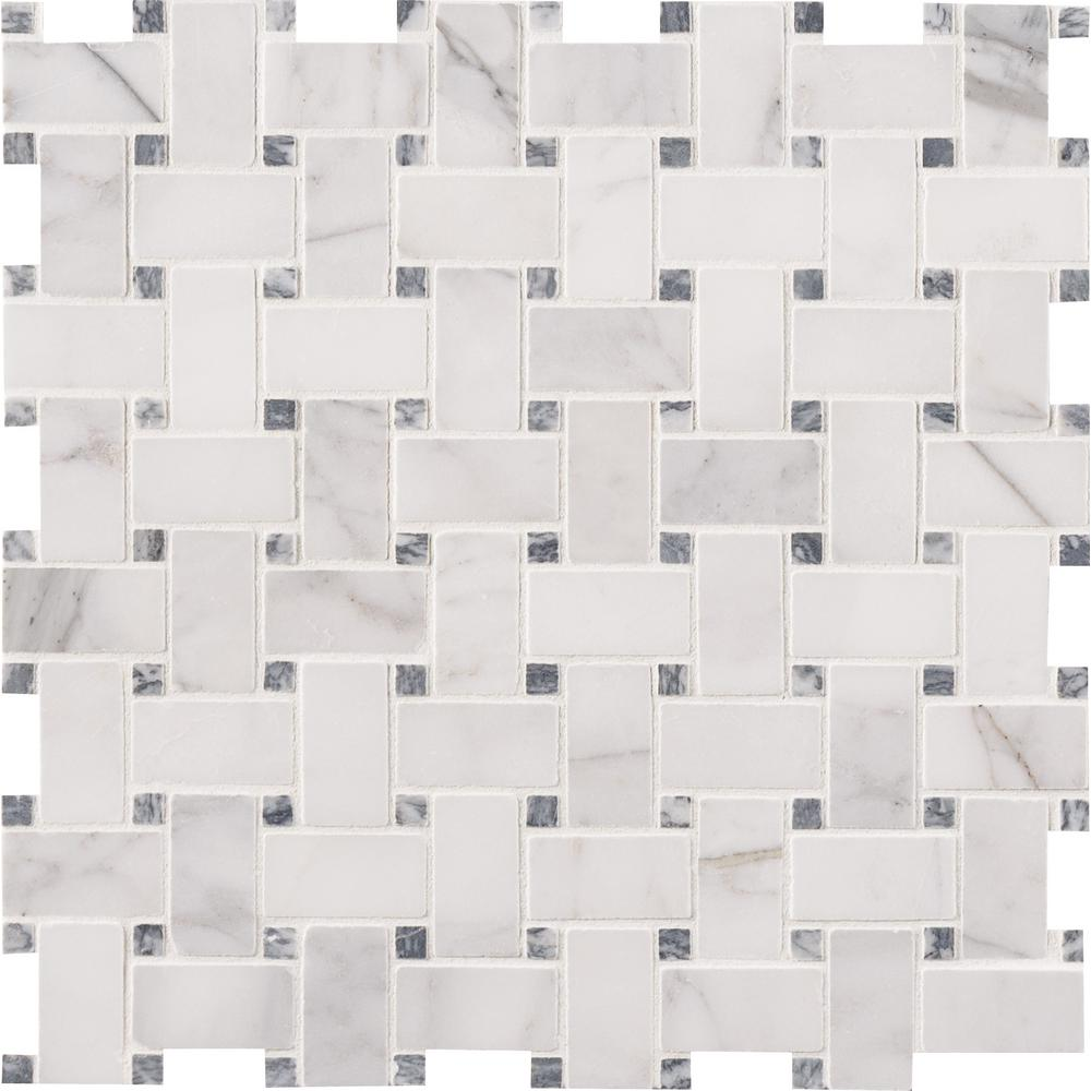 Calacatta Cressa Basketweave 12 In. X 12 In. X 10 Mm Honed Marble Mesh