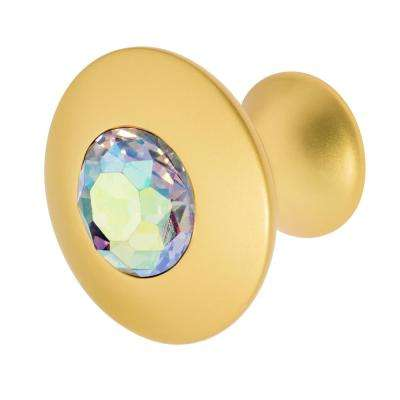 Felicia 1-1/4 in. Satin Gold with Multi-Color Crystal Cabinet Knob