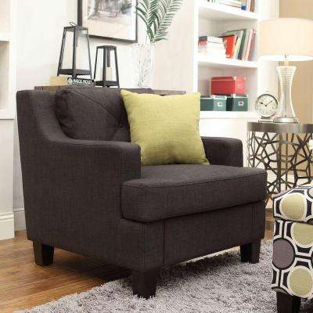 Emerson Dark Grey Linen Tufted Arm Chair