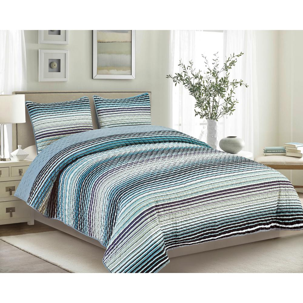 Strata 3-Piece Blue King Quilt Set