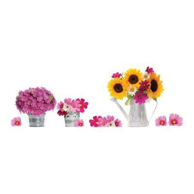 12.2 in. x 24.4 in. Watering Can and Flowers Window Decals