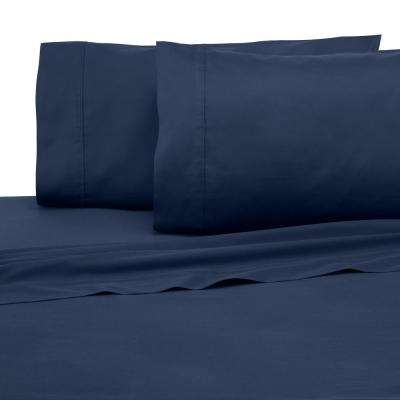 Solid Color T300 4-Piece Dark Denim Cotton Queen Sheet Set