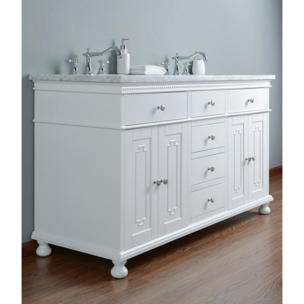 Stufurhome 60 In Abigail Embellished Double Sink Bathroom Vanity In White With Vanity Top In White With White Basin Hd 1013w 60 Cr The Home Depot