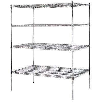 74 in. H x 60 in. W x 36 in. D 4-Shelf Heavy Duty Chrome Wire Shelving Unit