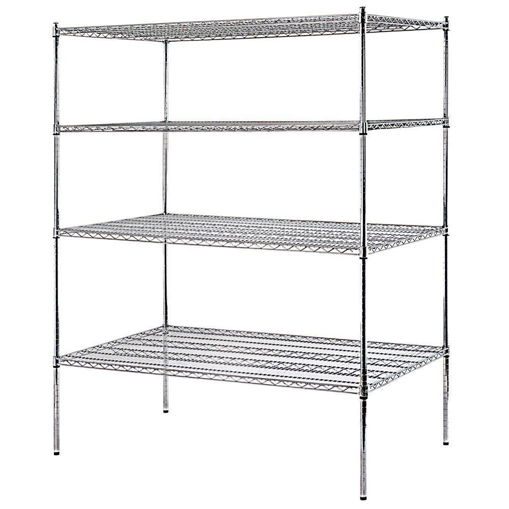 Sandusky 74 in. H x 72 in. W x 36 in. D 4-Shelf Heavy Duty Chrome ...