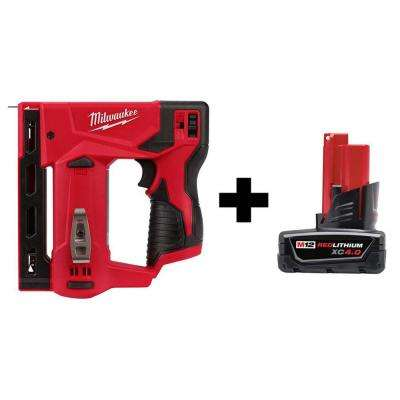 M12 12-Volt Lithium-Ion Cordless 3/8 in. Crown Stapler with 4.0 Ah M12 Battery