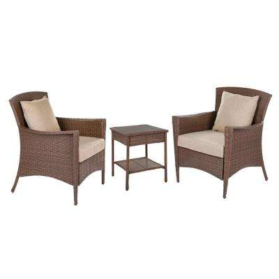 Galleon Collection 3-Piece Wicker Patio Conversation Set with Light Brown Cushions