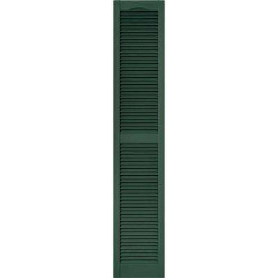 15 in. x 80 in. Louvered Vinyl Exterior Shutters Pair #028 Forest Green