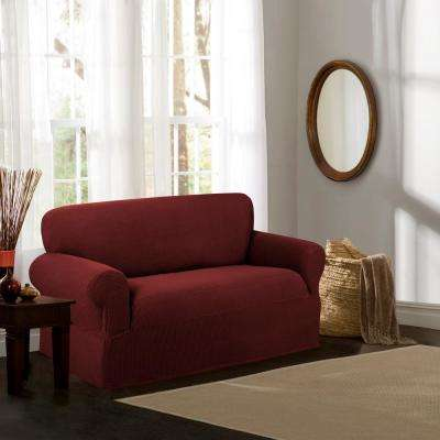 Reeves Stretch 1-Piece Red Loveseat Slipcover