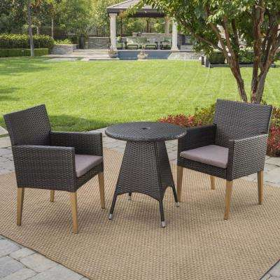 Barnett Multi-brown 3-Piece Wicker Outdoor Bistro Set with Mocha Cushions