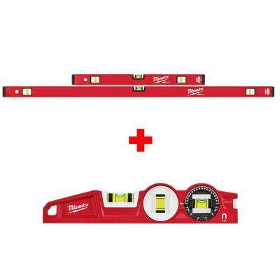 24 in./48 in. REDSTICK Compact Box Level Set with 10 in. 360-Degree Locking Die Cast Torpedo Level