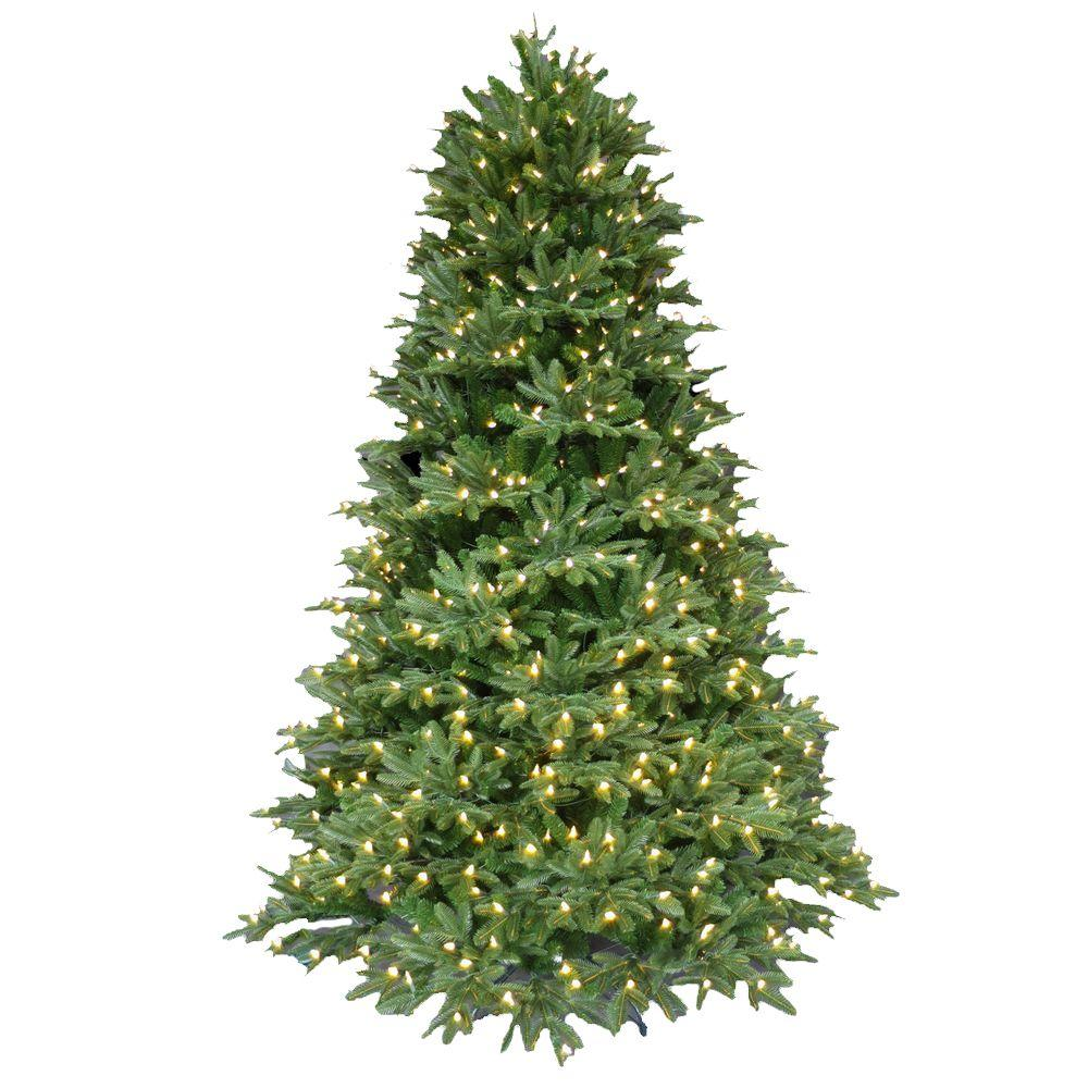 7.5 ft. Pre-Lit LED Balsam Fir Artificial Christmas Tree with Warm ...