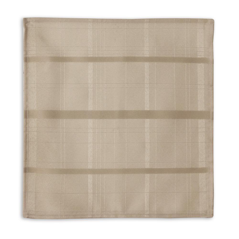 90 in. Round Beige Elrene Elegance Plaid Damask Fabric Tablecloth