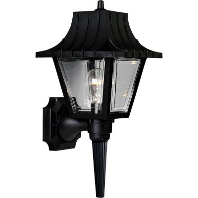 Mansard Collection 1-Light Black 17 in. Outdoor Wall Lantern Sconce