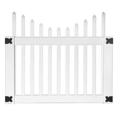 Pro Series 4 ft. W x 3.5 ft. H White Vinyl Alexandria Cut Scalloped Spaced Picket Fence Gate