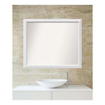 Choose Your Custom Size 32 in. x 38 in. Blanco White Wood Framed Mirror