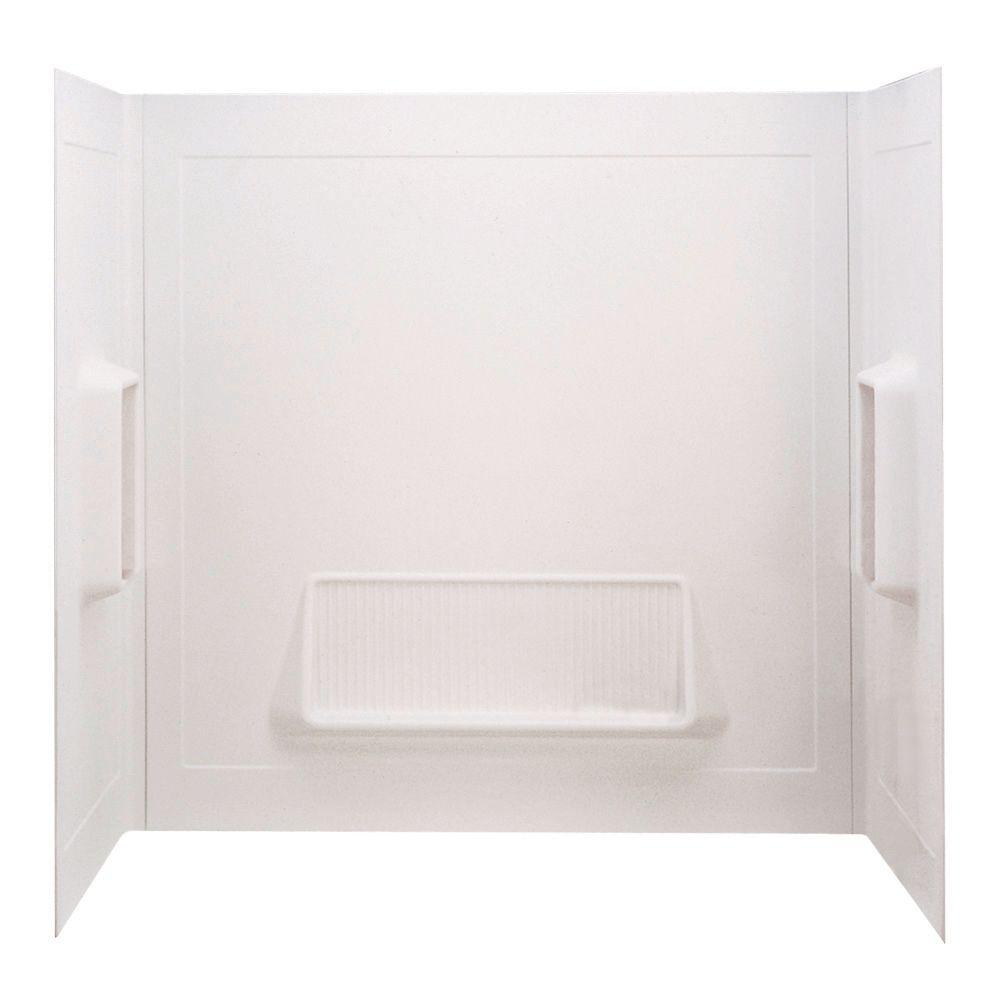 null Pro-Series 30 in. x 61 in. x 58 in 3-Piece Glue-Up Tub Wall Surround in High Gloss White