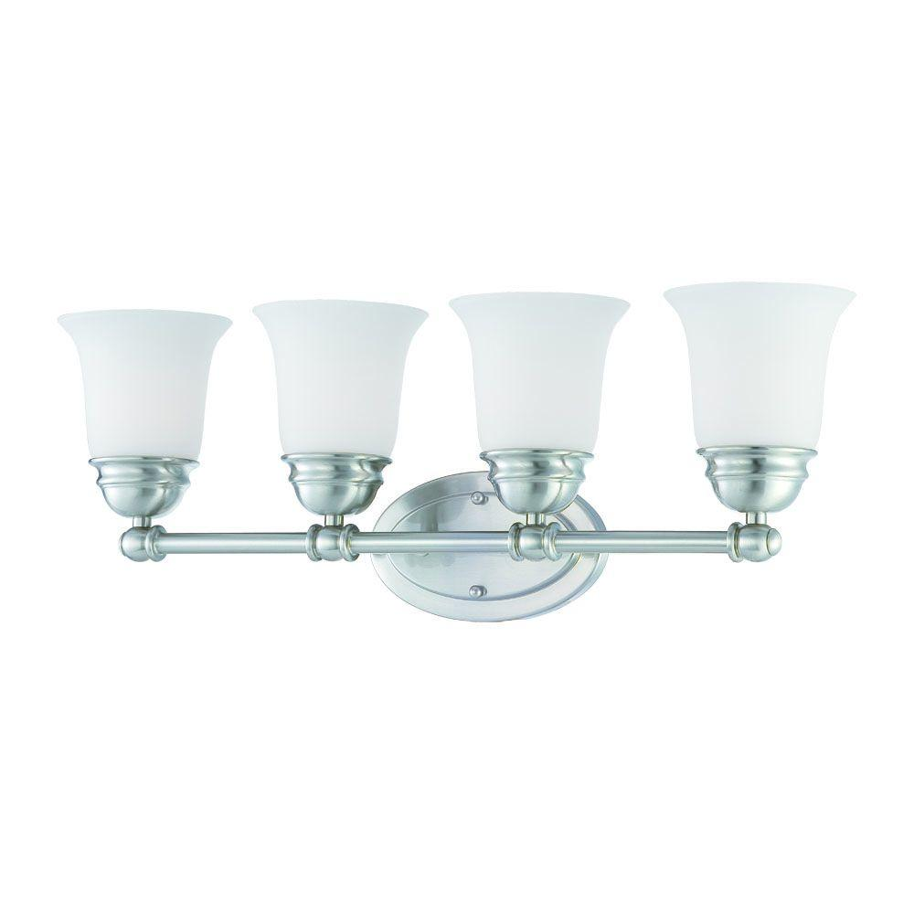 Thomas Lighting Bella 4-Light Brushed Nickel Bath Light with Etched Glass Shade