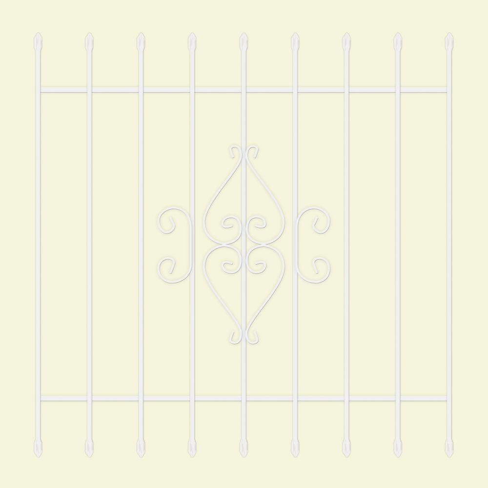 Unique Home Designs 48 in. x 48 in. Su Casa White 9-Bar Window Guard