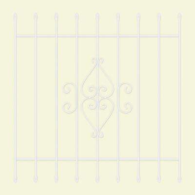 48 in. x 48 in. Su Casa White 9-Bar Window Guard