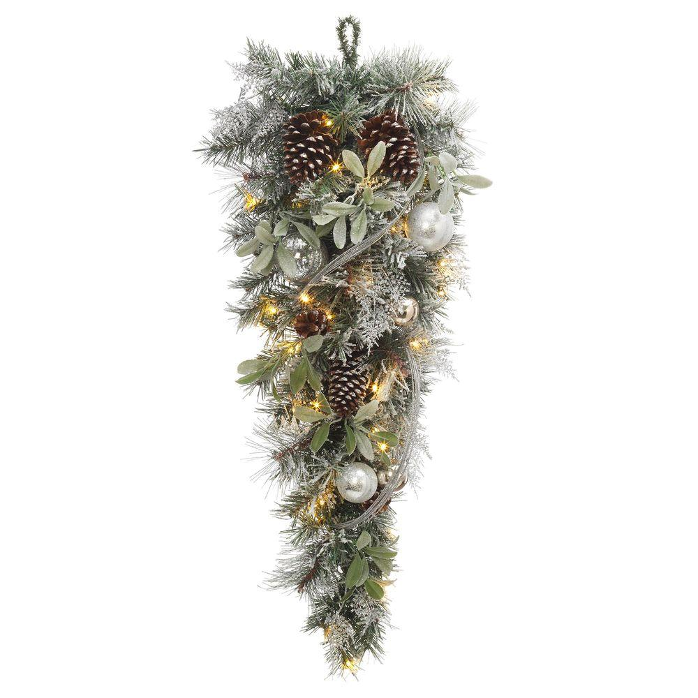 36 in. Battery Operated Snowy Silver Pine Artificial Teardrop with 36