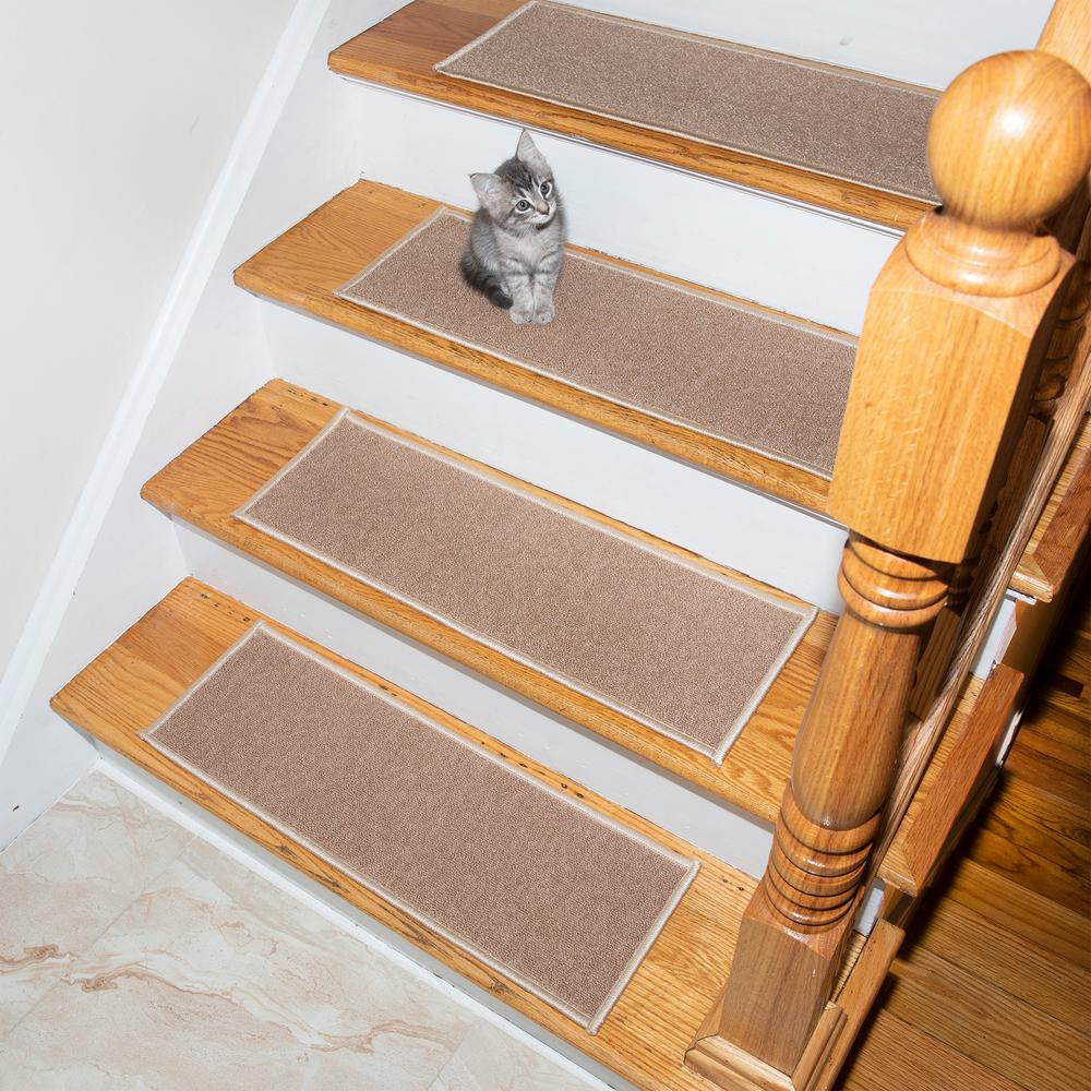 Ottomanson Escalier Collection Light Beige 8 in. x 26 in. Rubber Back Stair Tread (Set of 5)