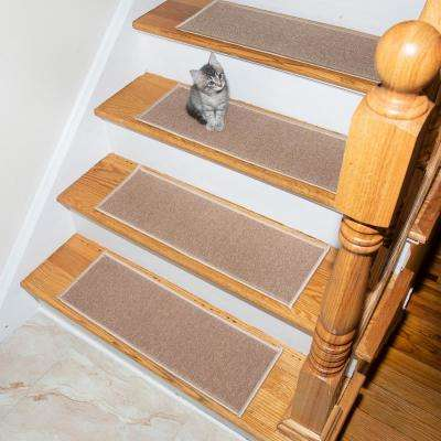 Escalier Collection Light Beige 8 in. x 26 in. Rubber Back Stair Tread (Set of 5)