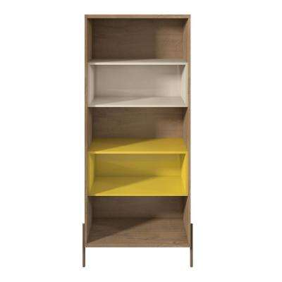 Joy Yellow and Off White 5-Shelf Bookcase