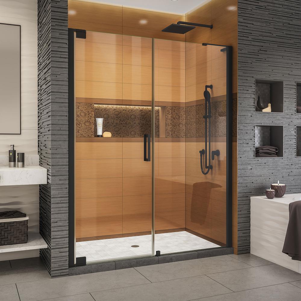 Elegance-LS 63-3/4 in. to 65-3/4 in. W x 72 in. H Frameless Pivot Shower Door in Satin Black