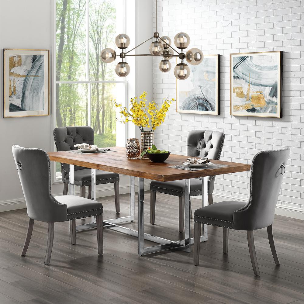 Inspired Home Nevaeh Grey Velvet Ring Handle Nailhead Dining ...