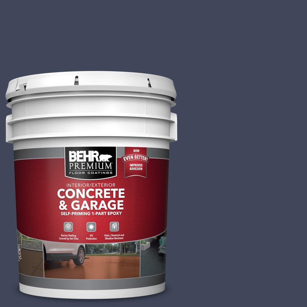 5 gal. #S530-7 Dark Navy Self-Priming 1-Part Epoxy Satin Interior/Exterior Concrete and Garage Floor Paint