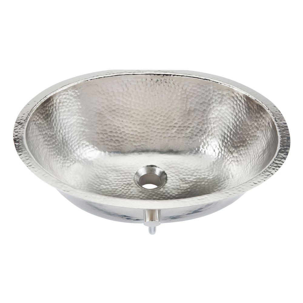 Oval Handcrafted Bathroom Sink In Hammered Nickel