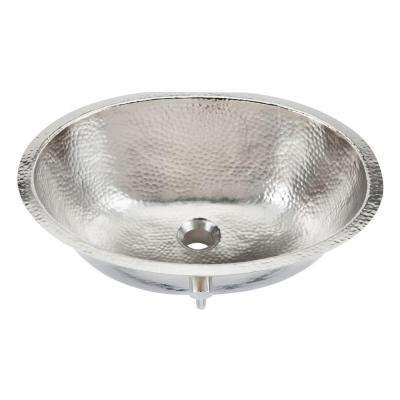 Pavlov 19-1/4 in. Oval Handcrafted Bathroom Sink in Hammered Nickel
