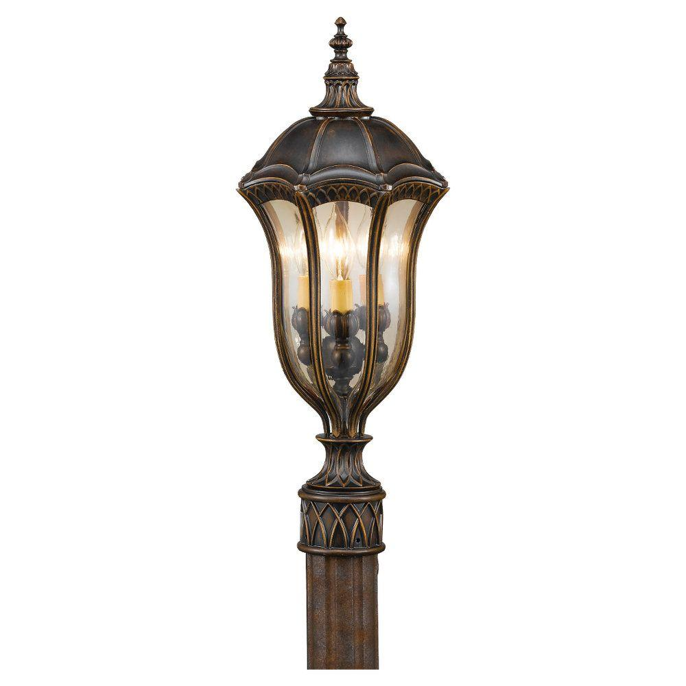 Feiss Baton Rouge 3 Light Walnut Outdoor Post Ol6007wal The Home Depot