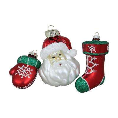 4.25 in. Set of Santa  Mitten and Stocking Shaped Glass Christmas Ornaments (3-Piece)
