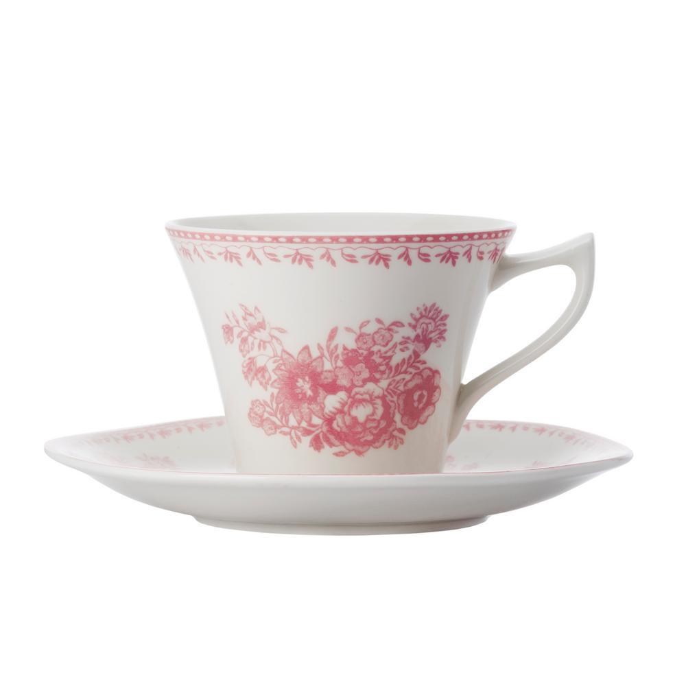 6 in. Pink Porcelain Saucers (Set of 48)