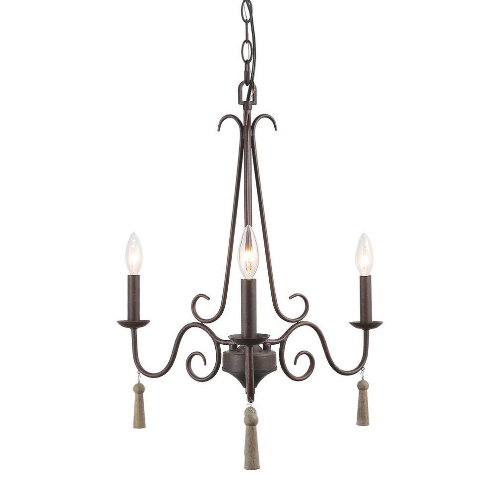 LNC Esquilin 3-Light Bronze Chandelier with Wood Drops