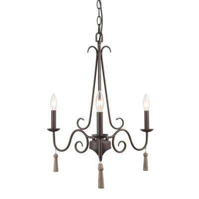 Esquilin 3-Light Bronze Chandelier with Wood Drops
