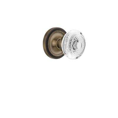 Rope Rosette 2-3/8 in. Backset Antique Brass Passage Hall/Closet Crystal Egg and Dart Door Knob
