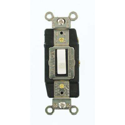 15 Amp Industrial Grade Heavy Duty Single-Pole Double-Throw Center-OFF Maintained Contact Toggle Switch, White