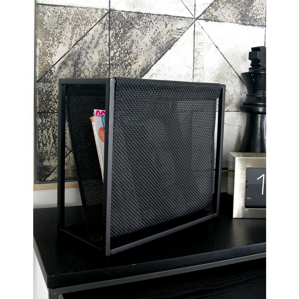 Metallic Black with Perforated Design Iron Freestanding Magazine Rack
