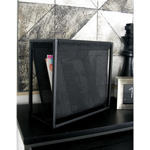 Metallic Black with Perforated Design Iron Freestanding Magazine Rack by