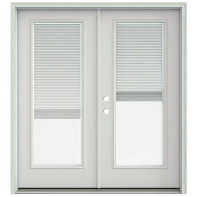 72 in. x 80 in. Primed Prehung Right-Hand Inswing French Patio Door with Brickmould and Blinds
